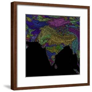 River Basins Of South Asia In Rainbow Colours by Grasshopper Geography