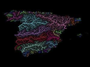 River Basins Of Spain In Rainbow Colours by Grasshopper Geography