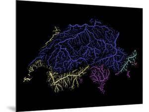 River Basins Of Switzerland In Rainbow Colours by Grasshopper Geography