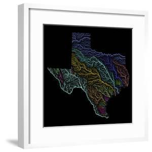 River Basins Of Texas In Rainbow Colours by Grasshopper Geography