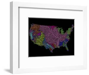 River Basins of the US in Rainbow Colours by Grasshopper Geography