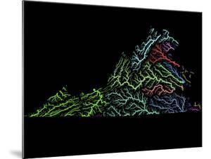 River Basins Of Virginia In Rainbow Colours by Grasshopper Geography