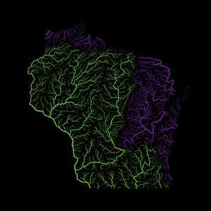 River Basins Of Wisconsin In Rainbow Colours by Grasshopper Geography