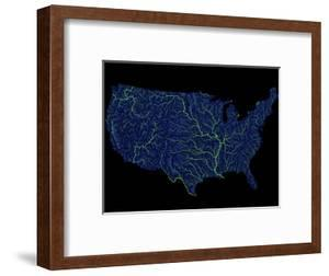 Rivers Of The Us In Blue And Green by Grasshopper Geography