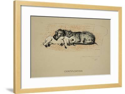 Gratification, 1930, 1st Edition of Sleeping Partners-Cecil Aldin-Framed Giclee Print
