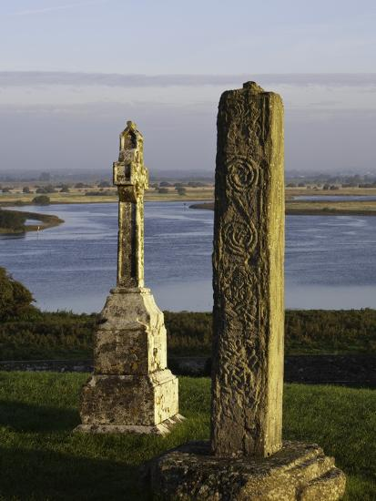 Gravestones at Clonmacnoise monastery-Doug Pearson-Photographic Print