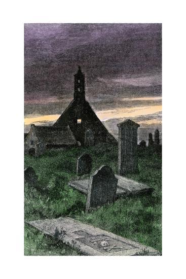 Graveyard of the Old Church in Boyndie Parish, Scotland, 1800s--Photographic Print