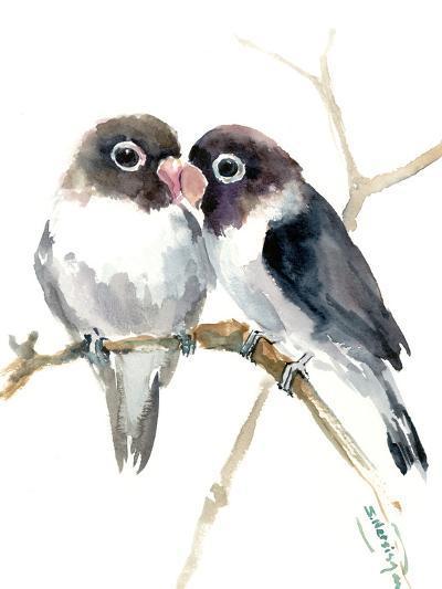 Gray Masked Lovebirds-Suren Nersisyan-Art Print