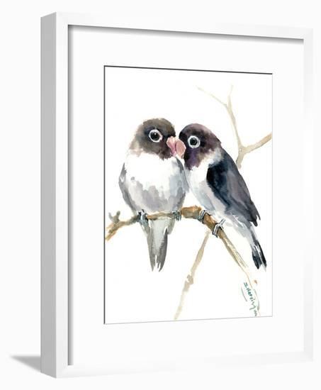 Gray Masked Lovebirds-Suren Nersisyan-Framed Art Print