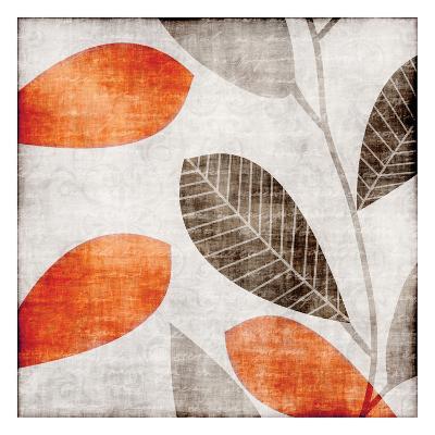 Gray Orange Leaves 1-Kristin Emery-Art Print
