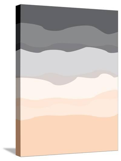 Gray Peach Abstract-Jetty Printables-Stretched Canvas Print