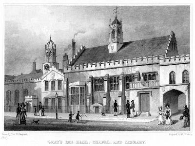 Gray's Inn Hall, Chapel, and Library, London, 19th Century-W Watkins-Giclee Print