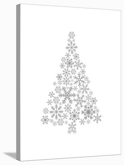 Gray Snowflake Tree-Jetty Printables-Stretched Canvas Print