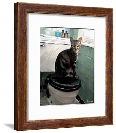 Gray Tiger Cat on the Toilet-Robert Mcclintock-Framed Art Print