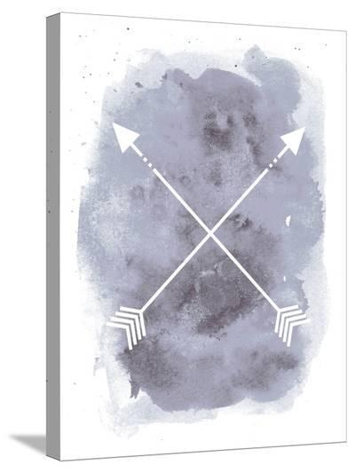 Gray Watercolor Arrow-Jetty Printables-Stretched Canvas Print