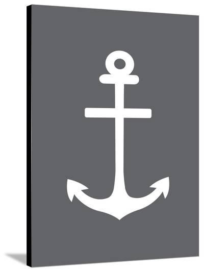 Gray White Anchor-Jetty Printables-Stretched Canvas Print