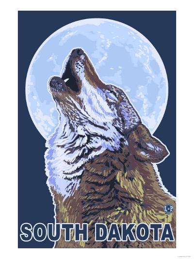 Gray Wolf Howling - South Dakota-Lantern Press-Art Print