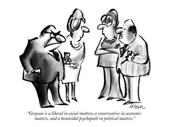 """""""Grayson is a liberal in social matters, a conservative in economic matter?"""" - New Yorker Cartoon-Lee Lorenz-Premium Giclee Print"""