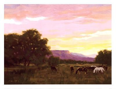 Grazing Below The Mesa-Roger Williams-Art Print
