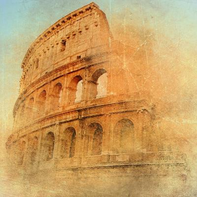 Great Antique Rome - Coloseum , Artwork In Retro Style-Maugli-l-Art Print