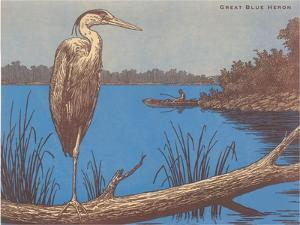 Great Blue Heron Perched on Log