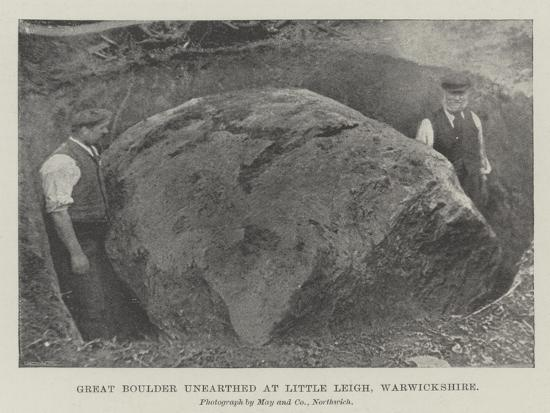 Great Boulder Unearthed at Little Leigh, Warwickshire--Giclee Print