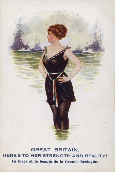 Great Britain as a Female Figure Standing in the Sea with Ships--Giclee Print