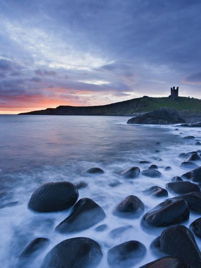 Great Britain, England, Northumberland, Dunstanburgh Castle, Sea, Stones, Dusk-Rainer Mirau-Photographic Print