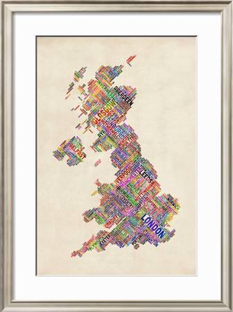 Great Britain United Kingdom City Text Map Art Print Michael Tompsett Art Com
