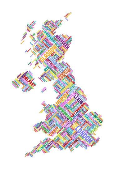 Great Britain United Kingdom City Text Map-Michael Tompsett-Art Print