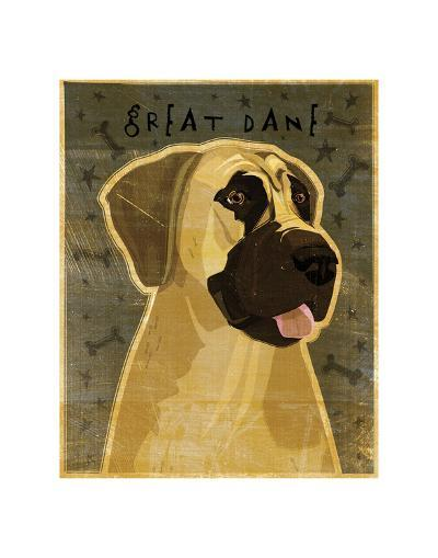 Great Dane (Fawn, no crop)-John W^ Golden-Art Print