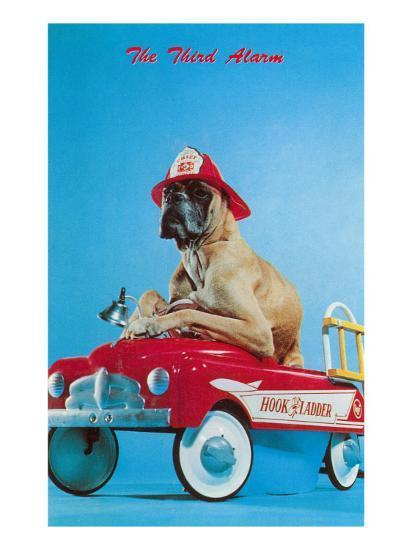 Great Dane in Toy Fire Wagon, Third Alarm--Art Print