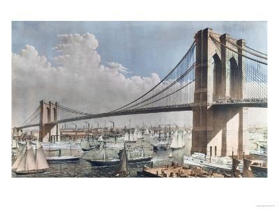 Great East River Suspension Bridge, Brooklyn, New York City, c.1883--Giclee Print