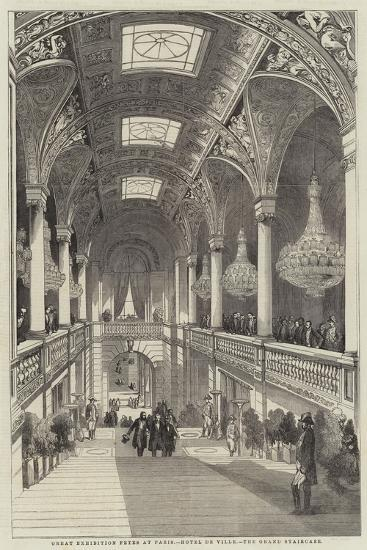 Great Exhibition Fetes at Paris, Hotel De Ville, the Grand Staircase--Giclee Print