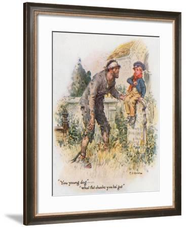 Great Expectations, Pip Encounters the Convict in the Churchyard-Charles Edmund Brock-Framed Giclee Print