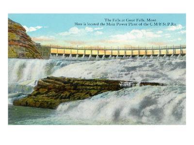 Great Falls, MT, View of Falls, Chicago-Milwaukee-Saint Paul RR Main Power Plant-Lantern Press-Art Print