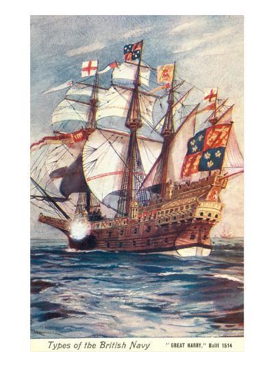 Great Harry, British Galleon, 1514--Art Print