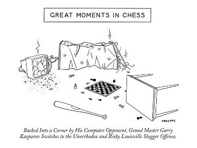 """Great Moments in Chess""-Backed into a Corner by His Computer Opponent, Gr? - New Yorker Cartoon-Alex Gregory-Premium Giclee Print"