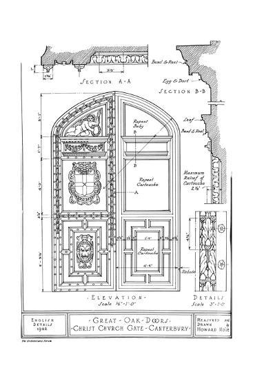 Great oak doors, Christ Church Gate, Canterbury, Kent, 1922-Howard Moise-Giclee Print