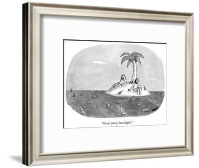 """""""Great party last night."""" - New Yorker Cartoon-Sam Means-Framed Premium Giclee Print"""