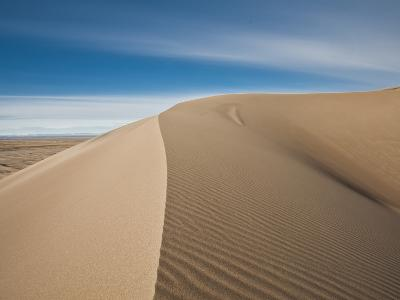 Great Sand Dunes, Co: a Sandy Ridge Line Vanishes into the Horizon-Brad Beck-Photographic Print