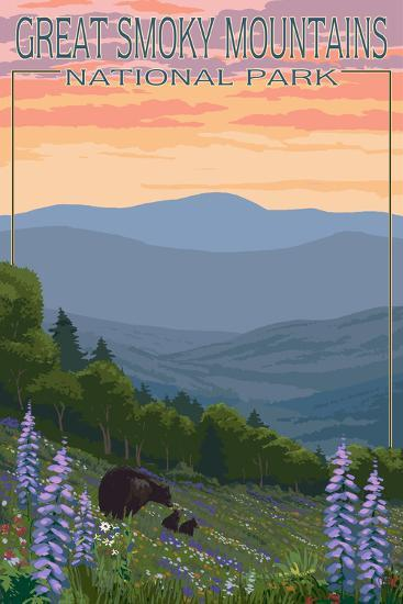 Great Smoky Mountains National Park - Bear and Spring Flowers-Lantern Press-Wall Mural