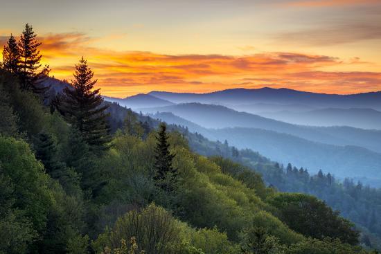 Great Smoky Mountains National Park Scenic Sunrise Landscape at Oconaluftee Overlook between Cherok-Dave Allen Photography-Photographic Print