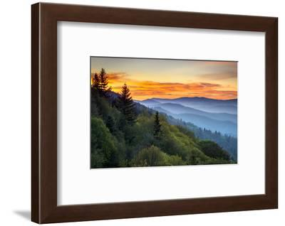 Great Smoky Mountains National Park Scenic Sunrise Landscape at Oconaluftee-daveallenphoto-Framed Photographic Print