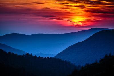 Great Smoky Mountains National Park Scenic Sunset Landscape Vacation Getaway Destination - Gatlinbu-Weidman Photography-Photographic Print