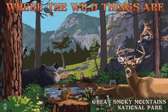 Great Smoky Mountains National Park - Where the Wild Things are - Utopia-Lantern Press-Wall Mural