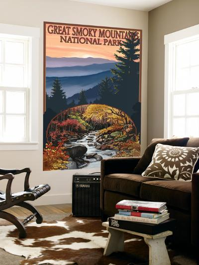 Great Smoky Mountains - Waterfall, c.2009-Lantern Press-Wall Mural