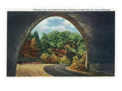 Great Smoky Mts. Nat'l Park, Tn - Autumn Scene from the Newfound Gay Hwy Loop Underpass, c.1940-Lantern Press-Art Print