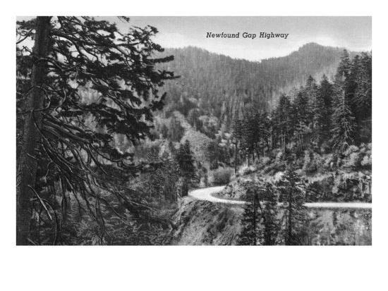 Great Smoky Mts. Nat'l Park, Tn - Newfound Gap Highway Scene (B/W), c.1940-Lantern Press-Art Print