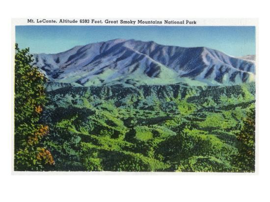 Great Smoky Mts. Nat'l Park, Tn - Panoramic View of Mt. Le Conte, c.1946-Lantern Press-Art Print